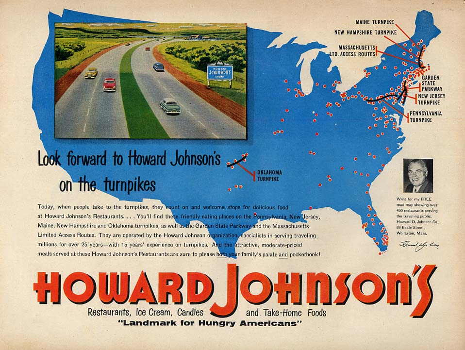 Look for Howard Johnson's Restaurants on the turnpikes ad 1954 L
