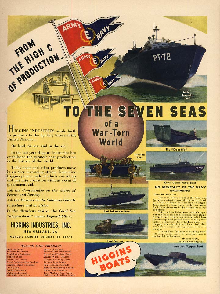 To the Seven Seas of a War-Torn World Higgins PT Landing Craft Crocodile ad 1942