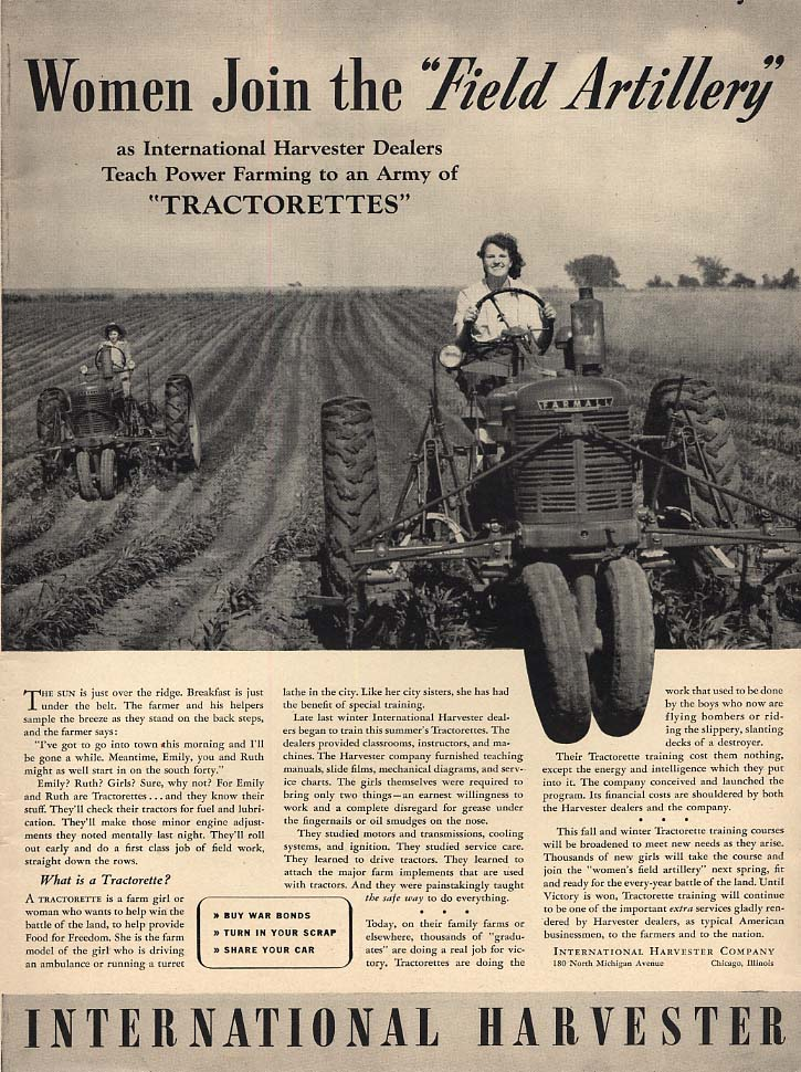Women join the Field Artillery International Harvester Tractor ad 1942 L