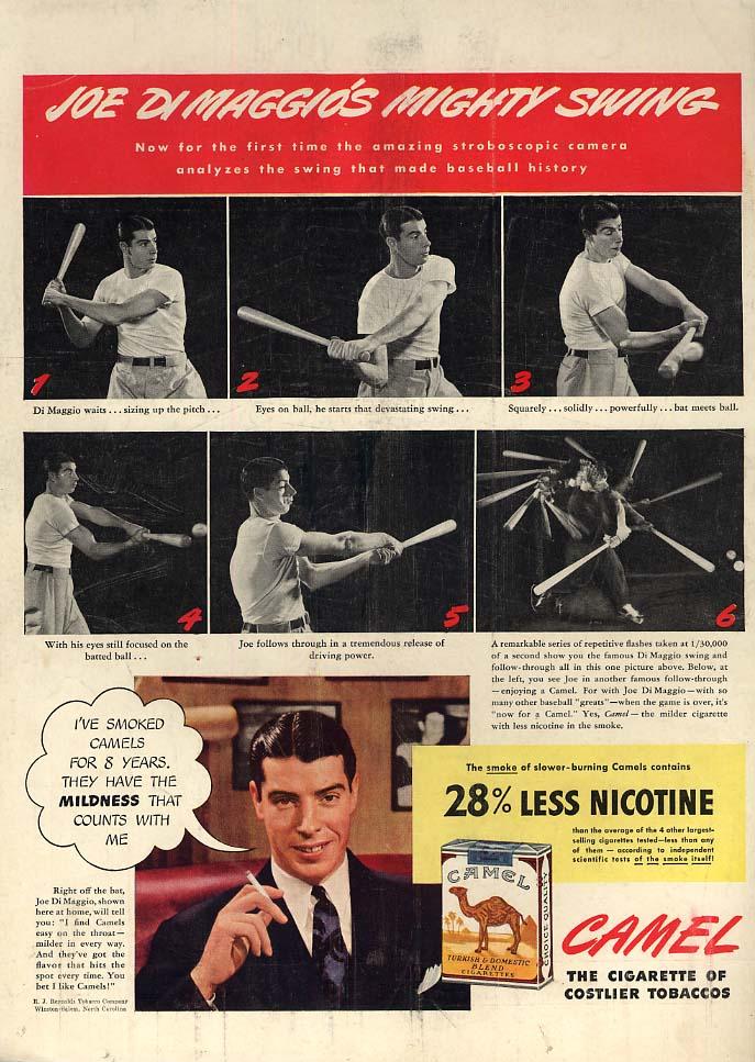 Joe Di Maggio's Mighty Swing for Camel Cigarettes ad 1942 L