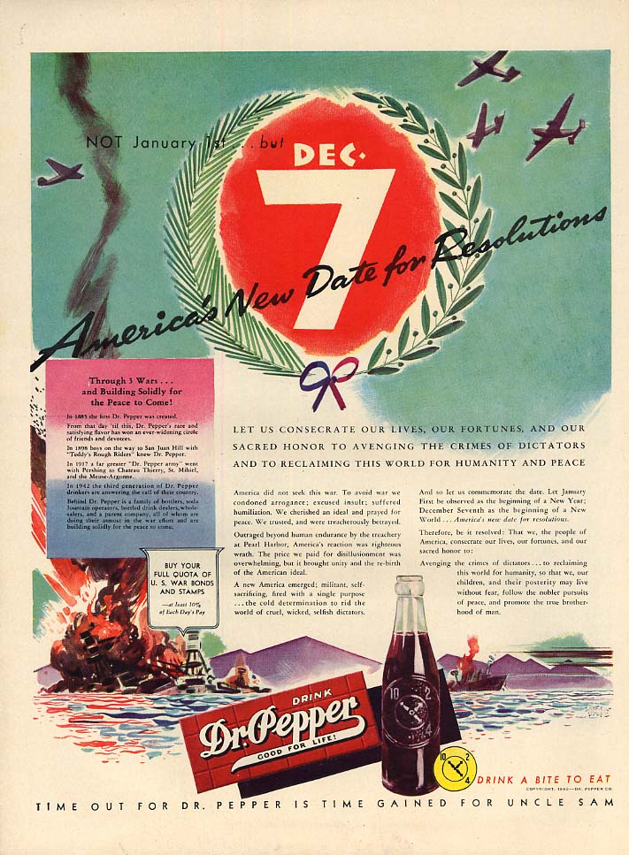 December 7 - America's New Date for Resolutions - Dr Pepper ad 1942 L