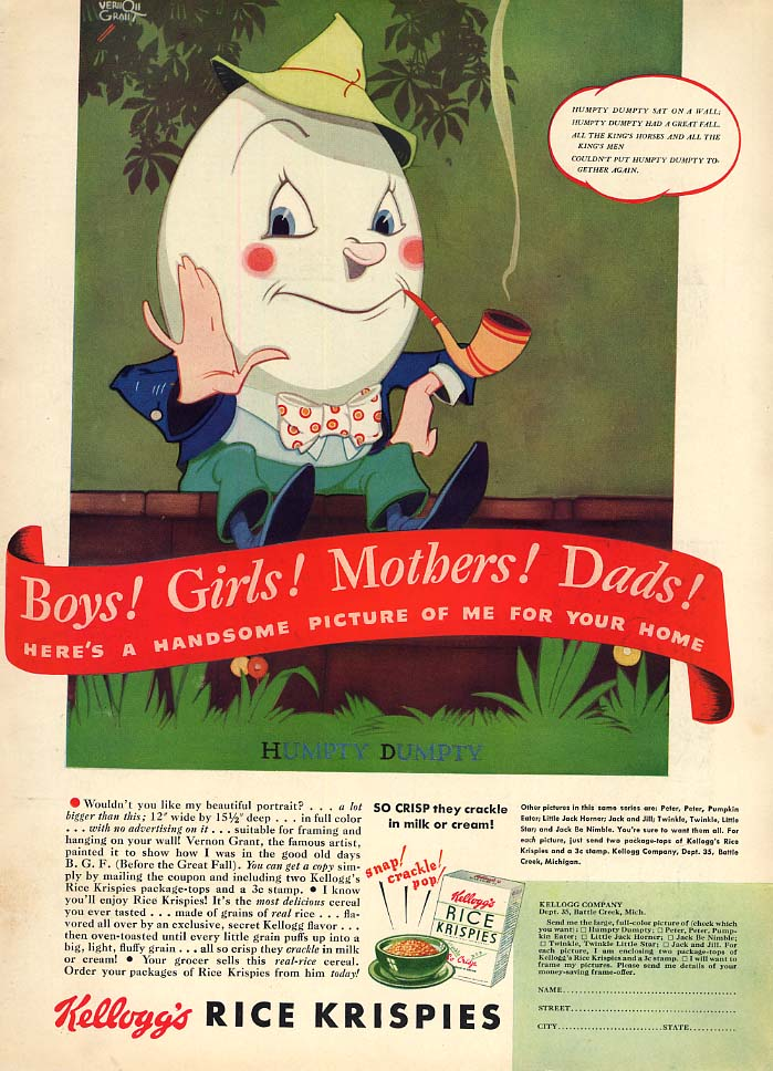 Boys! Girls! Mothers! Kellogg's Rice Krispies ad 1938 Vernon Grant Humpty Dumpty