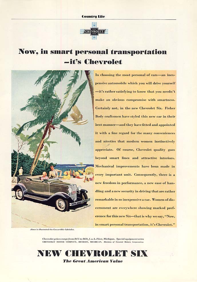 Now in smart personal trasnportation Chrvrolet Convertible Cabriolet ad 1931 CL