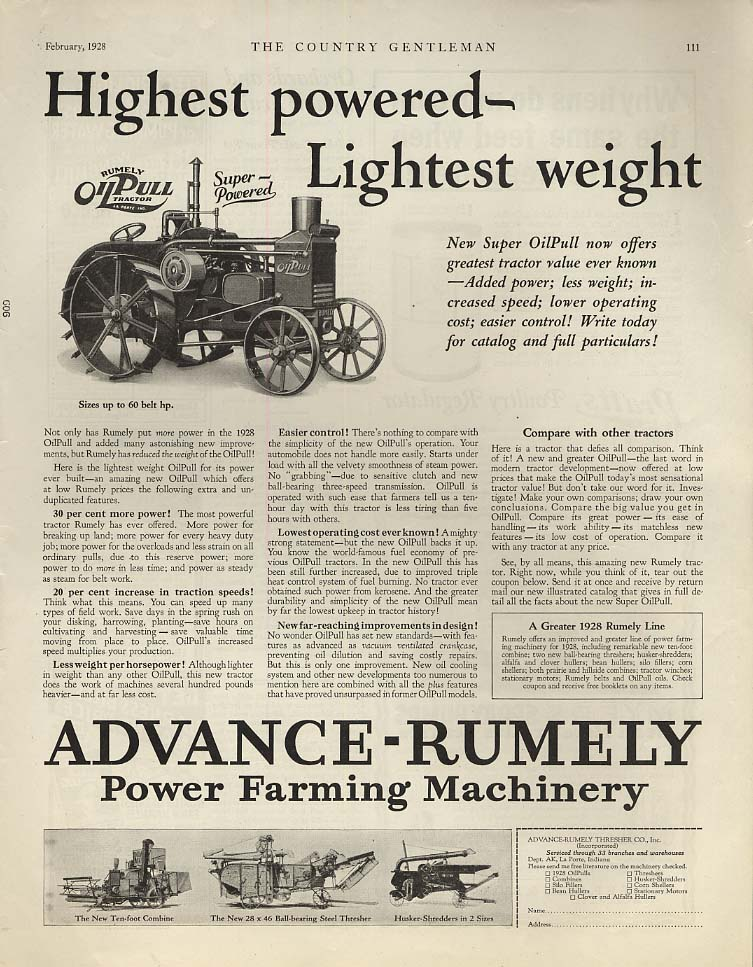 Highest powered - Lightest weight - Advance-Rumely Super OilPull Tractor ad 1928