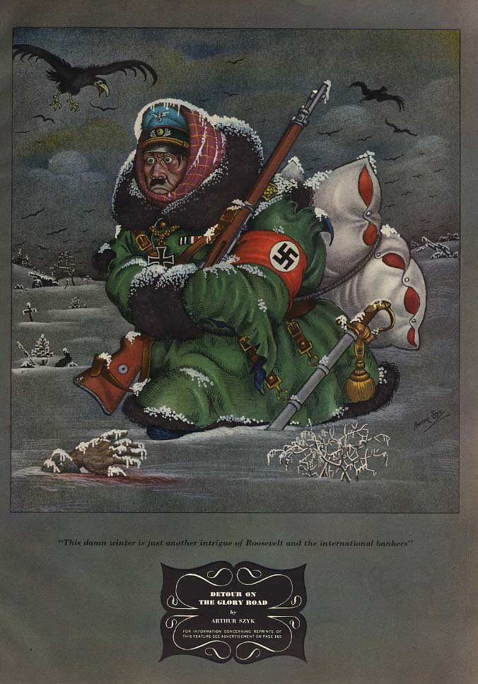 Detour on the Glory Road - Hitler freezing in Russia by Arthur Szyk ad 1941