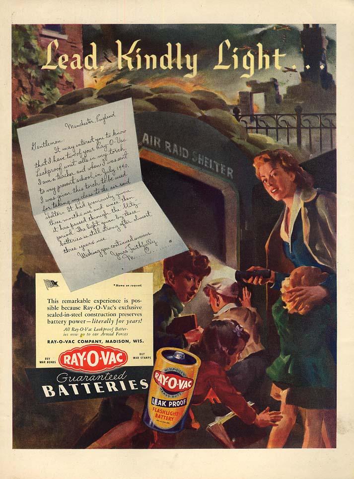 Lead, Kindly Light Ray-o-Vac Flashlight Batteries ad 1943 UK Air Raid Shelter L