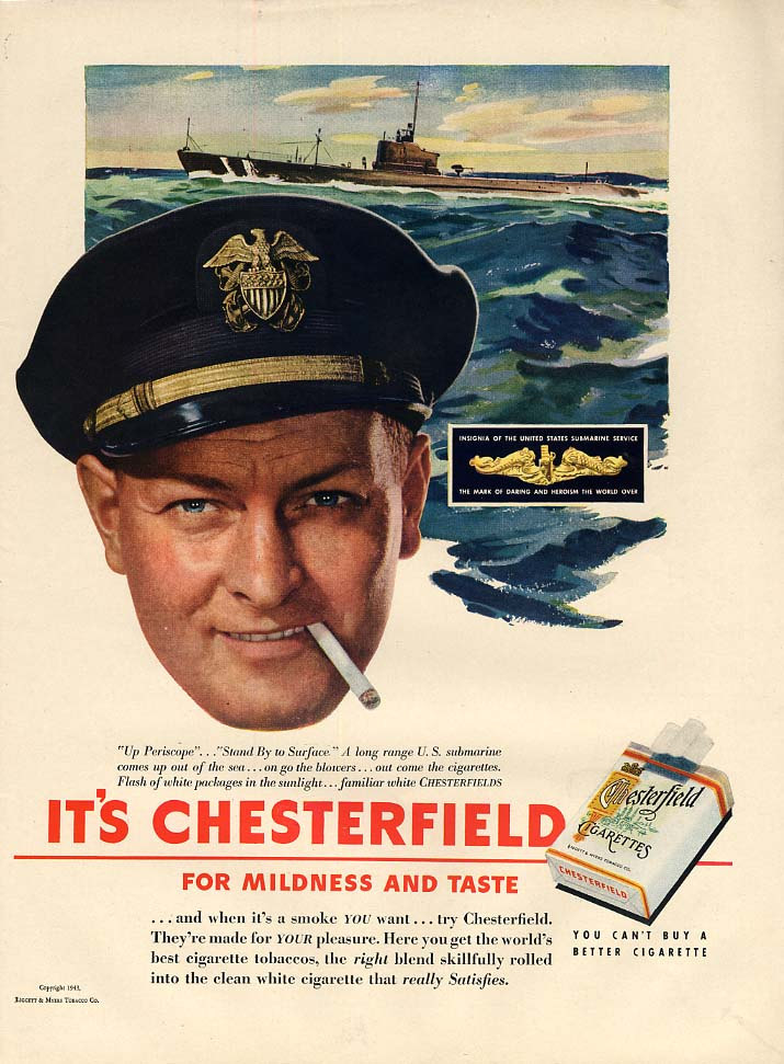 US Navy United States Submarine Service for Chesterfield Cigarettes ad 1943 L