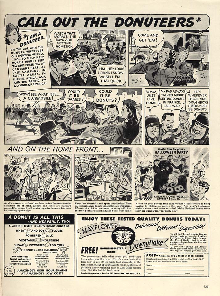 Call out the USO Donuteers - Mayflower / Downyflake Doughnuts Donuts ad 1943 L