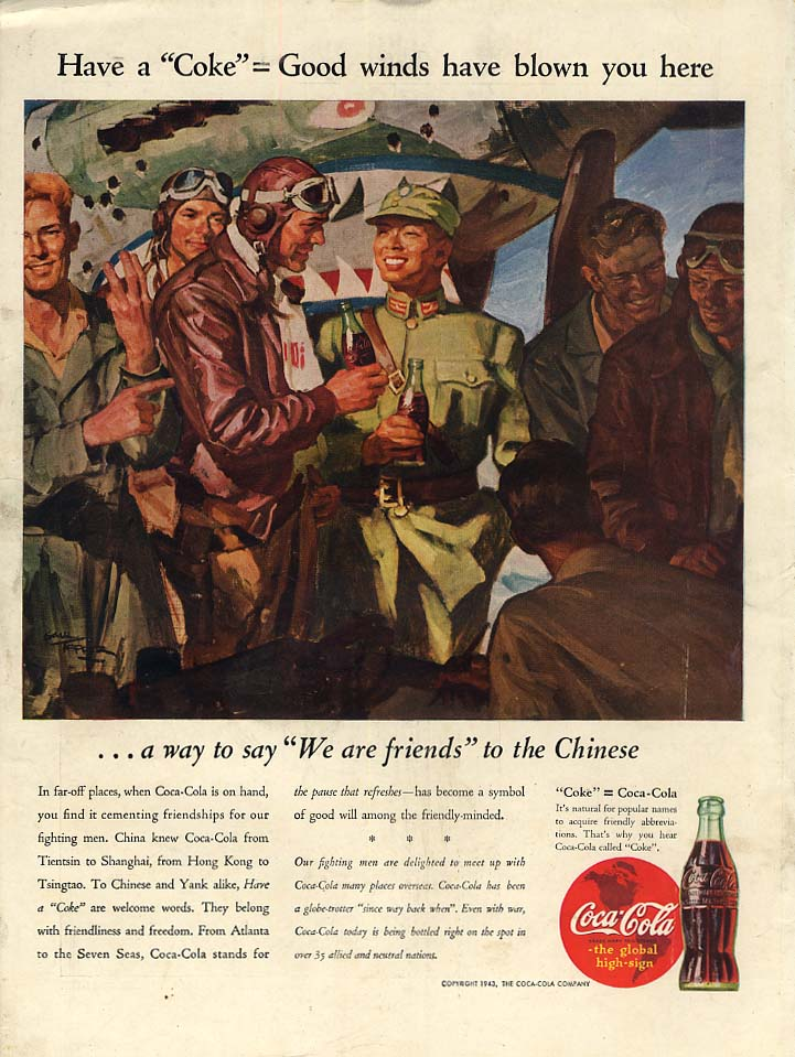 Good winds have blown you here to China Coca-Cola ad 1943 L