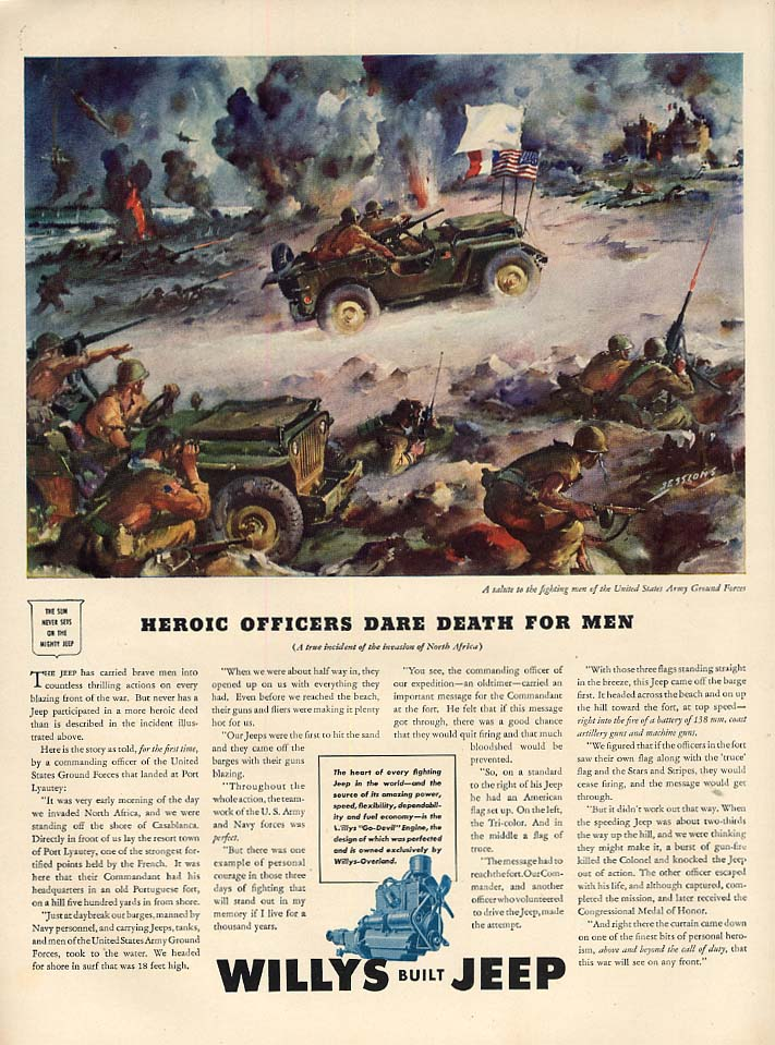 Image for Heroic Officers Dare Death for Men in North Africa - Willys Jeep ad 1943 L