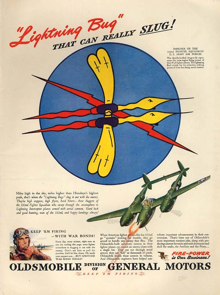 Lightning Bug can really slug 332nd Fighter Squadron P-38 - Oldsmobile ad 1943 L