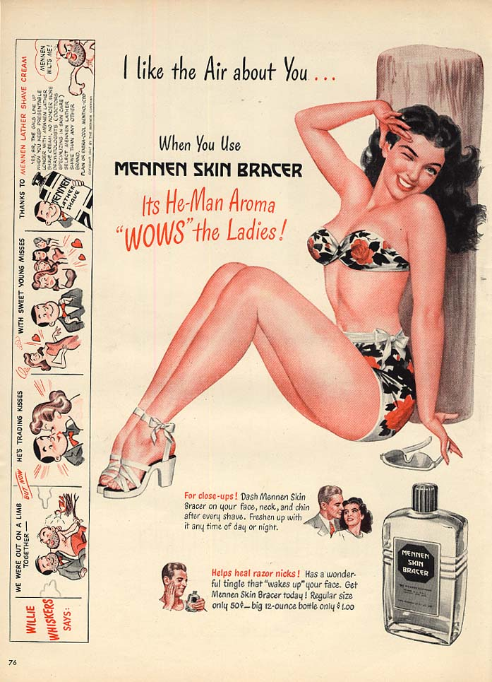 Image for I like the Air about You Mennen Skin Bracer ad 1947 Mingo pin-up swimsuit girl L