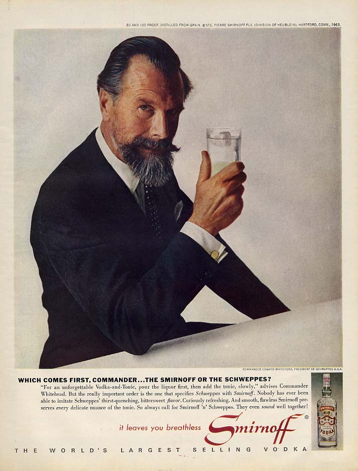 Which comes 1st, Commander - The Smirnoff or the Schweppes? Ad 1963 L