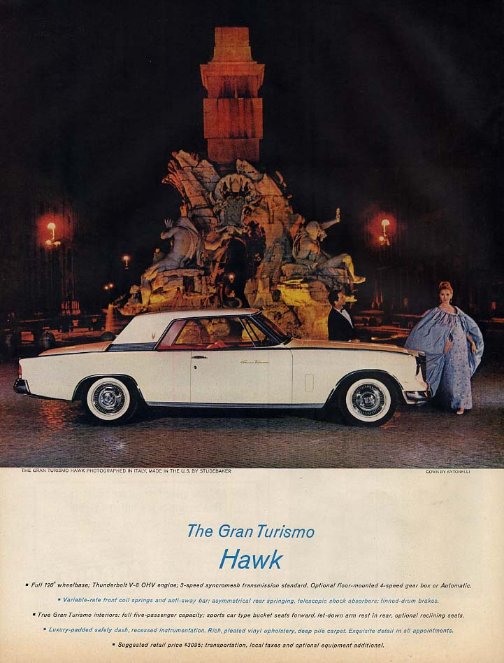 The Studebaker Gran Turismo Hawk photographed in Italy ad 1962 L