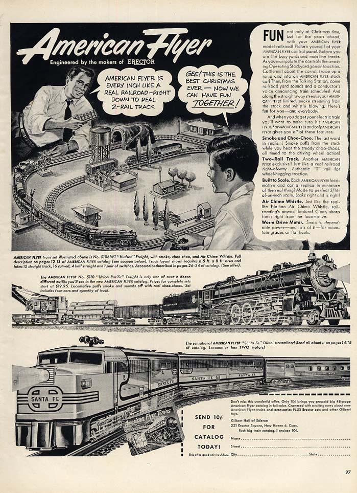 American Flyer Electric Trains ad 1951 L Santa Fe ALCO, UPRR Challenger +