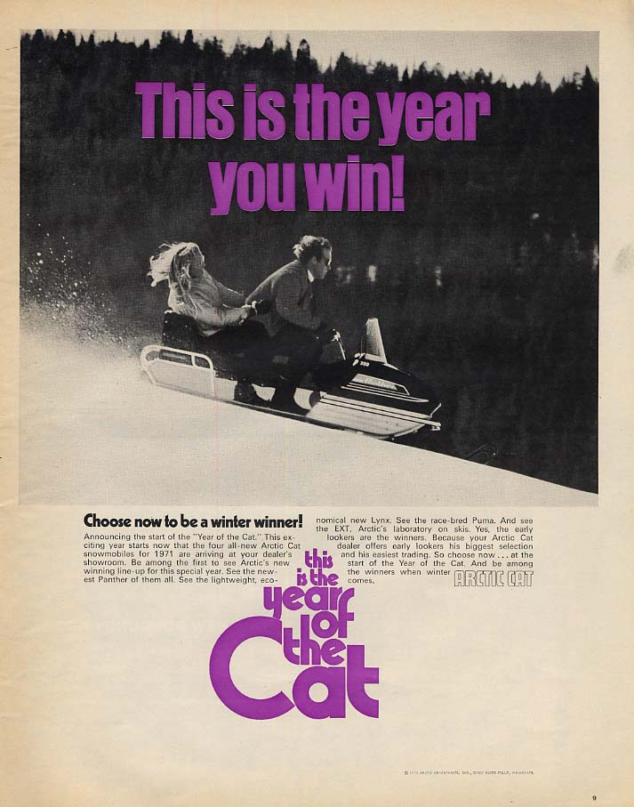 This is the year you win! Arctic Cat Panther Snowmobile ad 1970 L