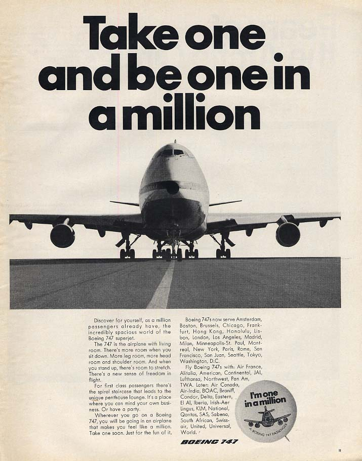 Take one and be one in a million Boeing 747 Airliner ad 1970 L