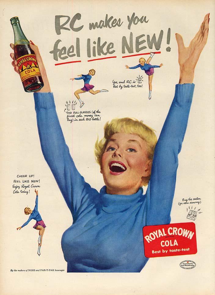 Makes you feel like new! Royal Crown RC Cola ad 1951 blonde figureskater L