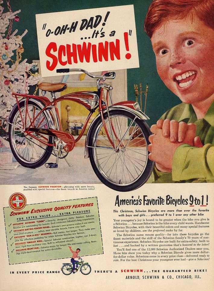 O-Oh-H Dad! It's a Schwinn Phantom Bicycle ad 1951 L