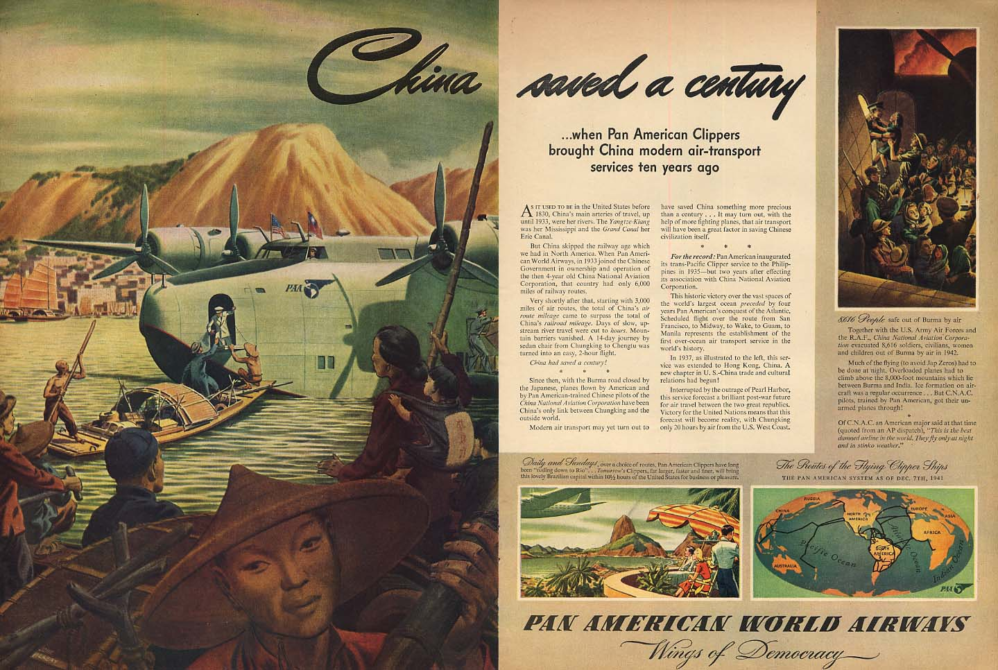 China saved a century - Pan American World Airways China Clipper ad 1943 L