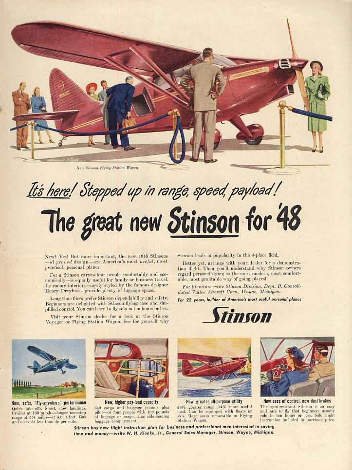 Stepped up in range speed payload! Stinson Flying Station Wagon ad 1947 L