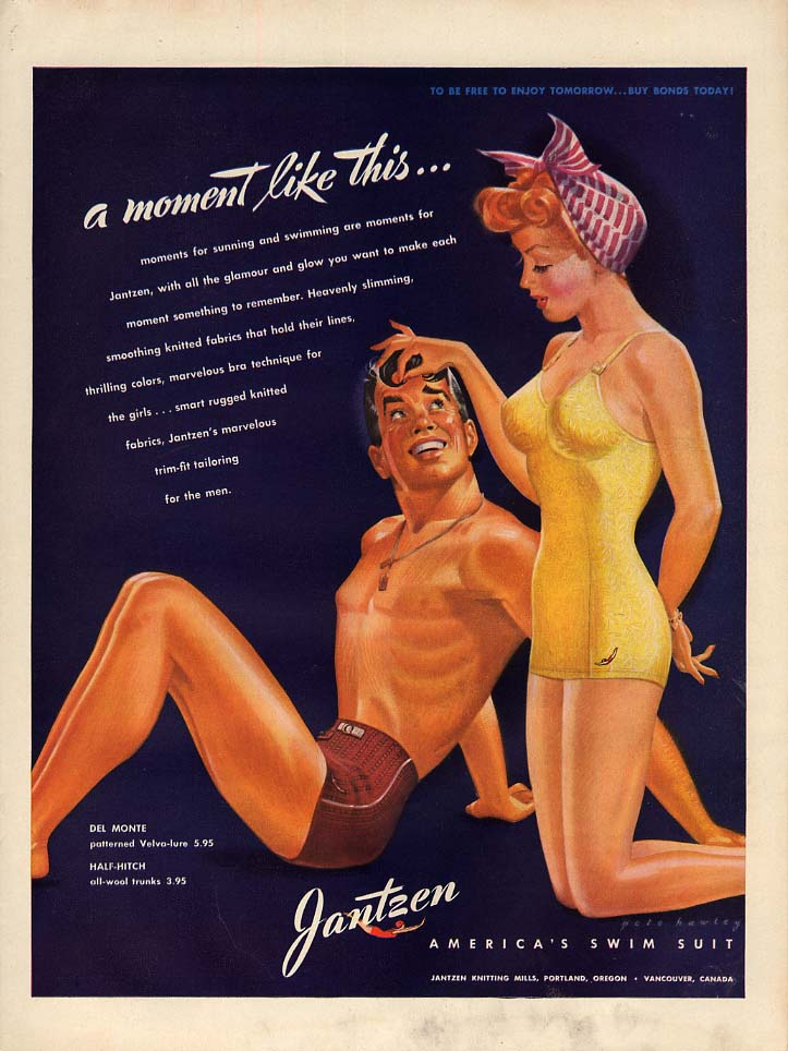 Image for A moment like this Jantzen Swimsuit ad 1943 L Pete Hawley pin-up