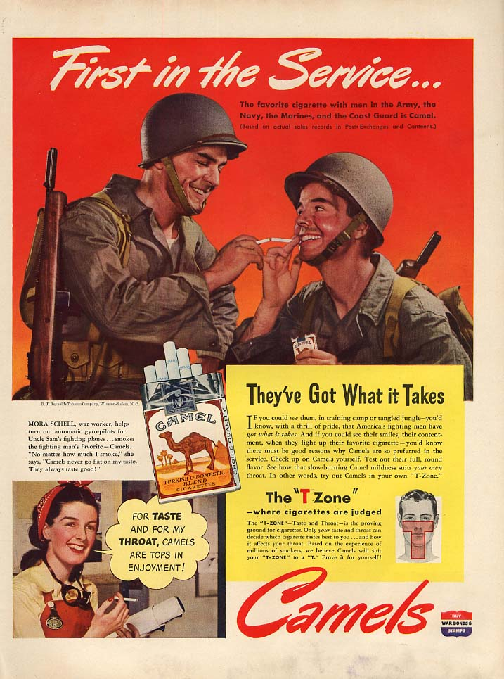 First in the Service Camel Cigarettes for Army Navy Marines Coast Guard ad 1943