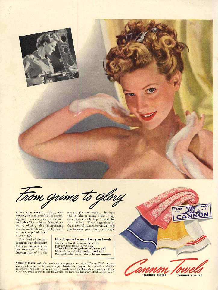 Foam grime to glory - Cannon Towels shower nude ad 1943 L woman war worker