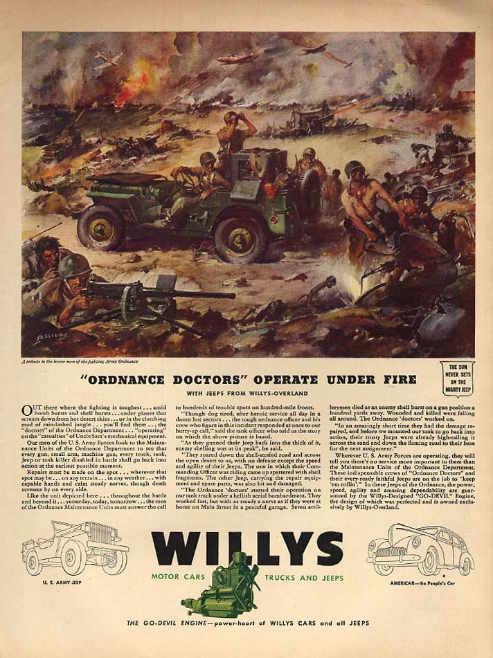 Image for Ordnance Doctors Operate Under Fire Willys Jeep ad 1943 L