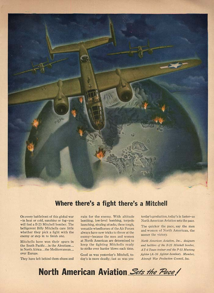 Where there's a fight there's a North American Mitchell B-25 ad 1943 L