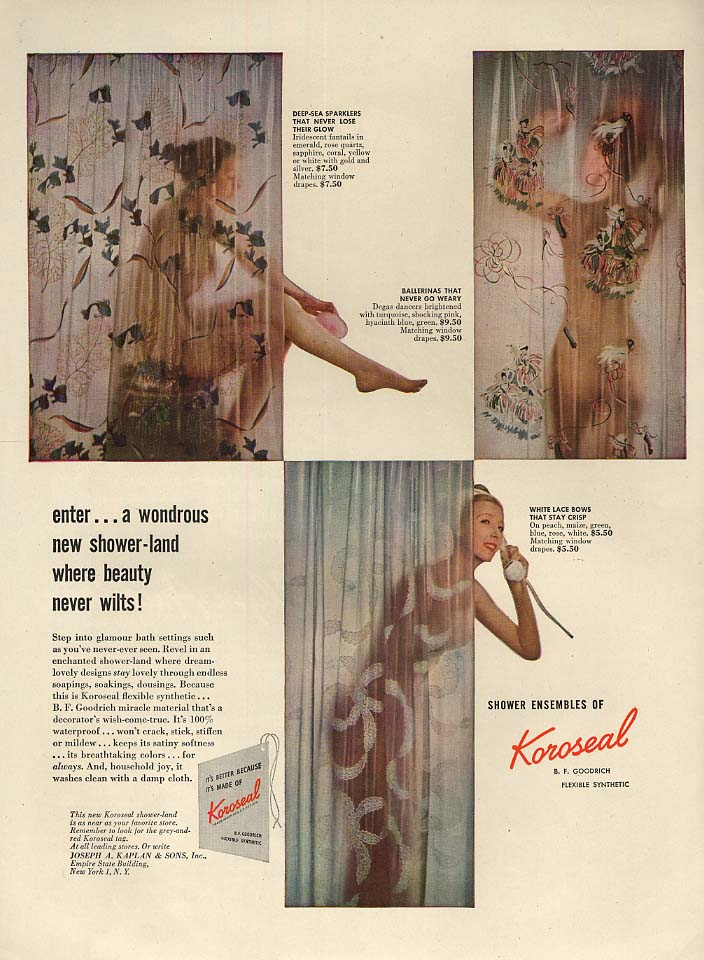 A wondrous new shower-land Koroseal Shower Curtains ad 1947 shower nudes L