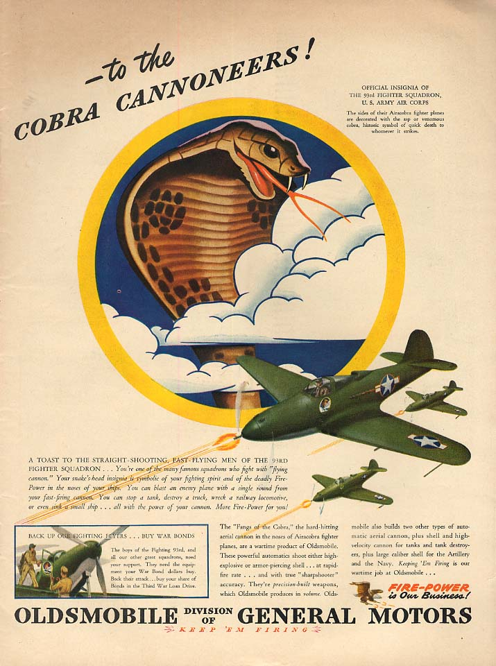 The Cobra Cannoneers 93rd Fighter Squadron Bell Airacobra Oldsmobile ad 1943 L