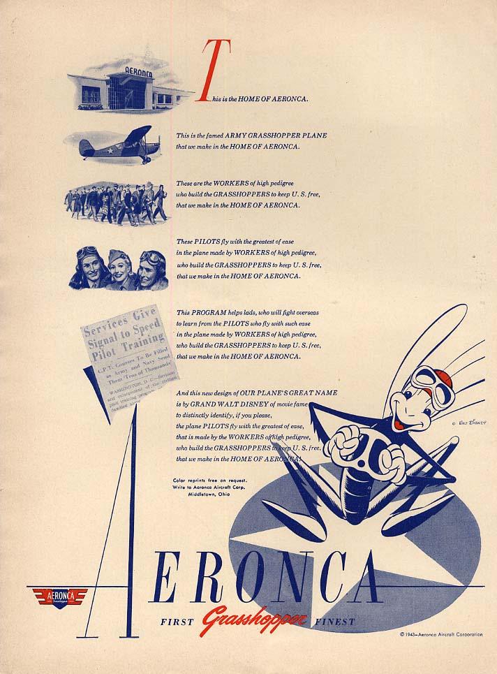 This is the Home of Aeronca Grasshopper Airplane ad 1943 Walt Disney art L
