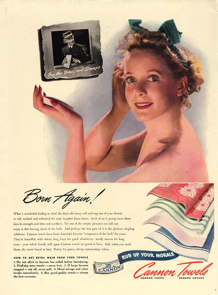 Born Again! Cannon Towels towel shower nude ad 1943 L