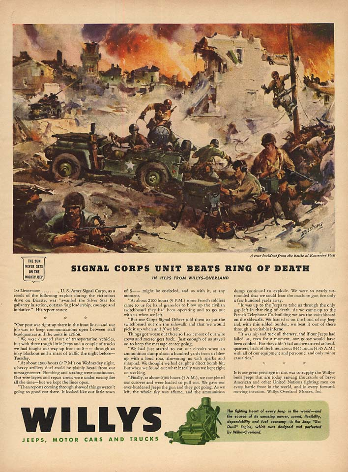 Image for Signal Corps Unit on Bizerte Beats Ring of Death - Willys Jeep ad 1943 L