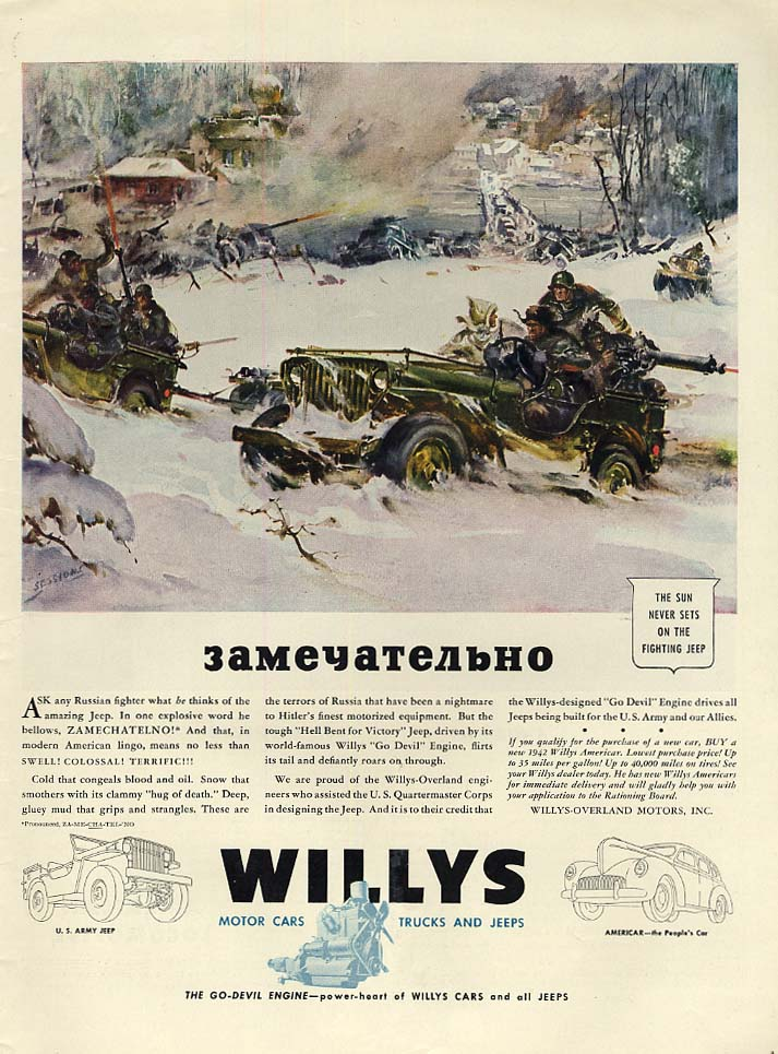 Image for Zamechatelno! Russian fighters drive a Willys Jeep ad 1943 L