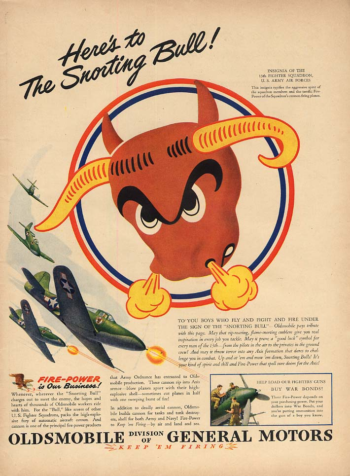 Here's to the Snorting Bull! 13th Fighter Squadron Bell Airacobra Olds ad 1943 L