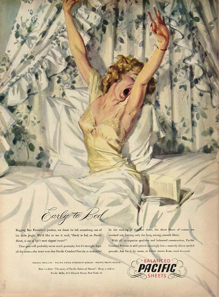 Image for Early to Bed - Pacific Sheets ad 1947 John Gannam blonde wakes up yawning L