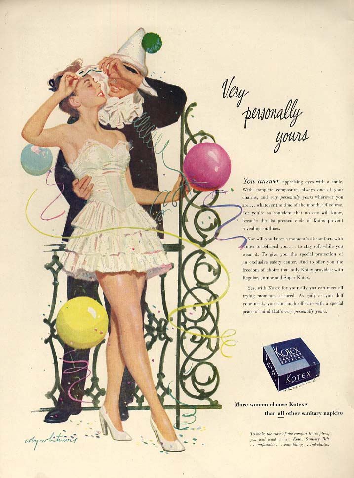 Very personally yours Kotex Napkins ad 1947 Coby Whitmore costume party L