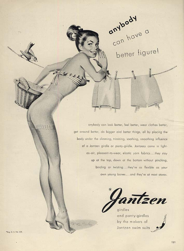 Anybody can have a better figure! Jantzen Girdle ad 1947 L Pete Hawley