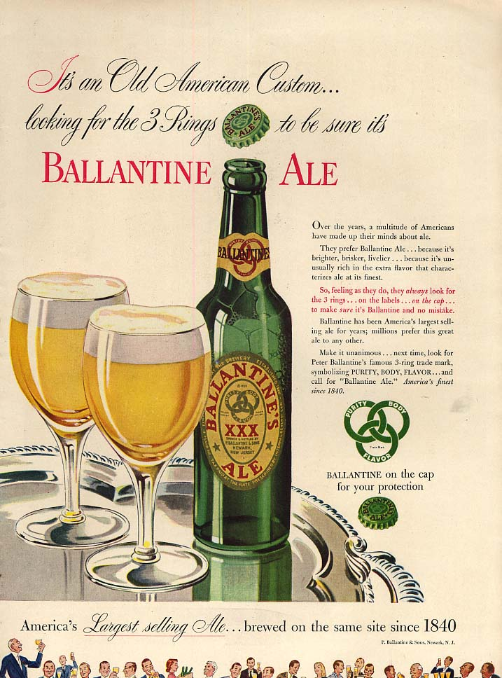 It's an Old American Custom - Ballantine Ale ad 1947 L