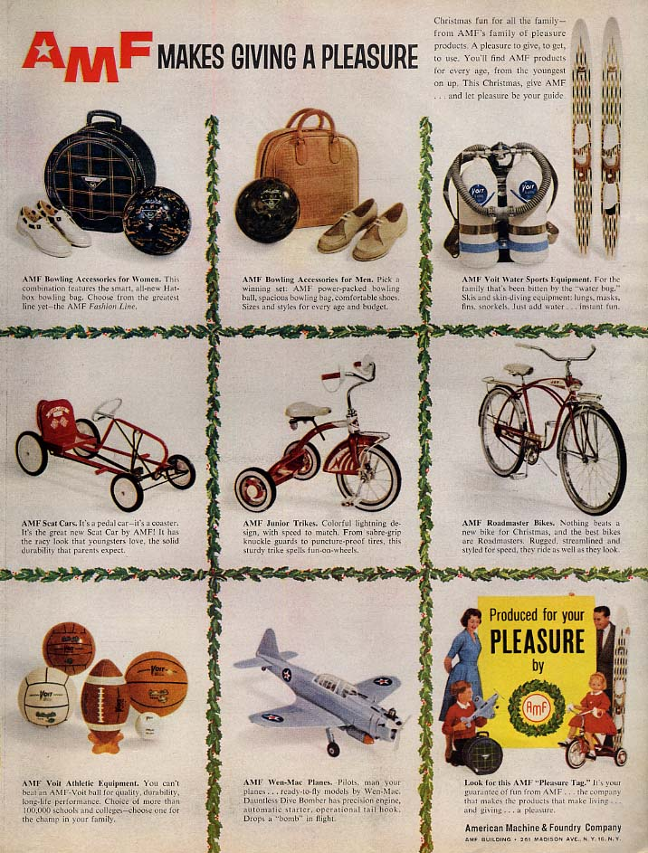 AMF Makes Giving a Pleasure ad Bicycle Scat Car Bowling SCUBA Wen-Mac 1960 L