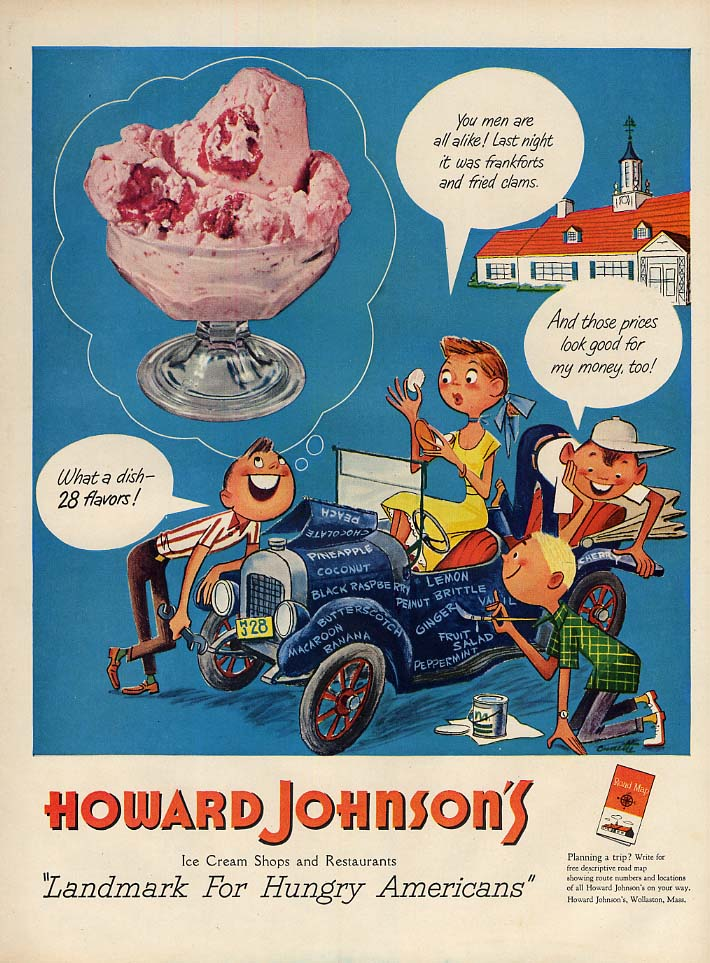 What a dish - 28 flavors of Howard Johnson's Ice Cream ad 1951 L teen jalopy