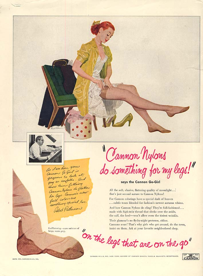 Cannon Nylons do something for my legs Robert Patterson pin-up ad 1951 L