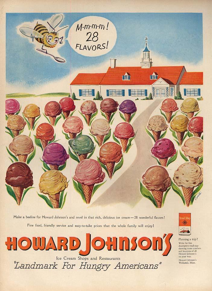 M-m-m-m! 28 Flavors of Ice Cream - Howard Johnson's Restaurant ad 1951 L