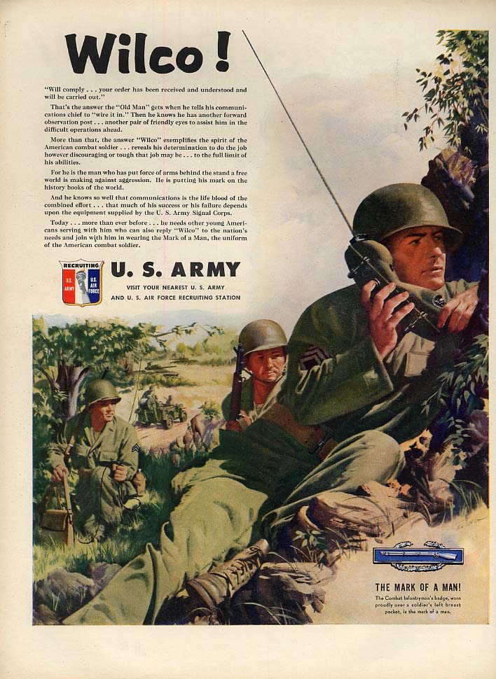 Wilco! US Army Recruiting ad 1951 walkie-talkie field communications L