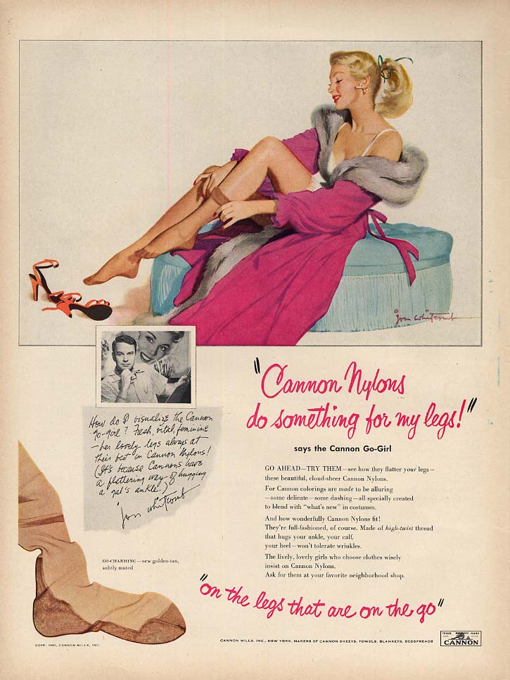 Image for Cannon Nylons do something for my legs! Jon Whitcomb pin-up ad 1951 L