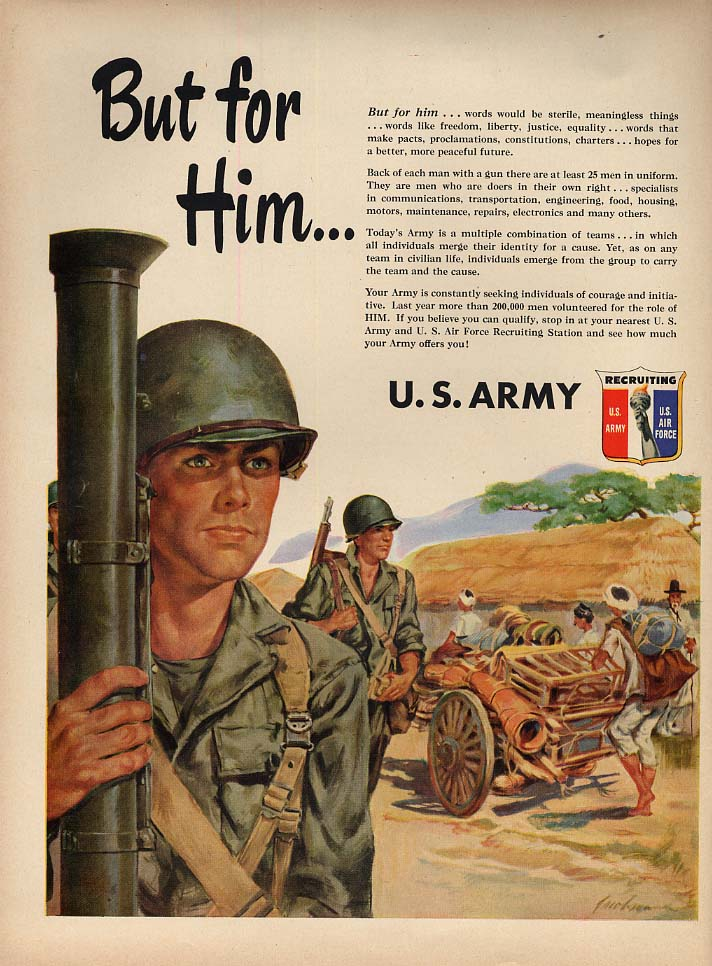 But for Him - US Army Recruiting ad 1951 bazooka squad L