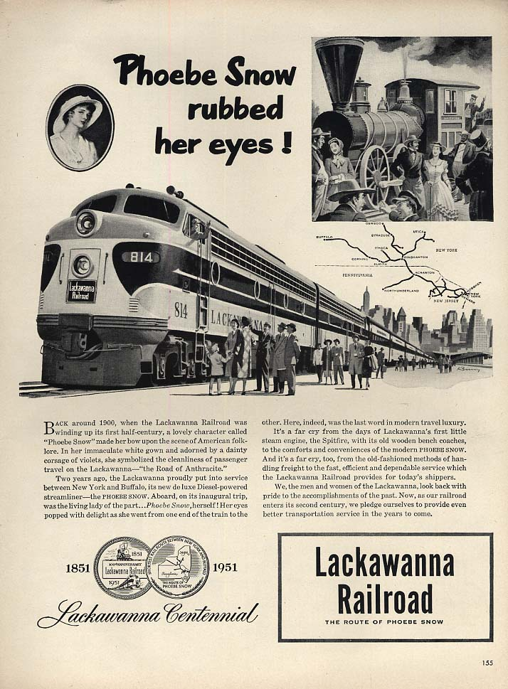 Lackawanna Railroad Phoebe Snow streamliner rubbed her eyes! Ad 1951 L
