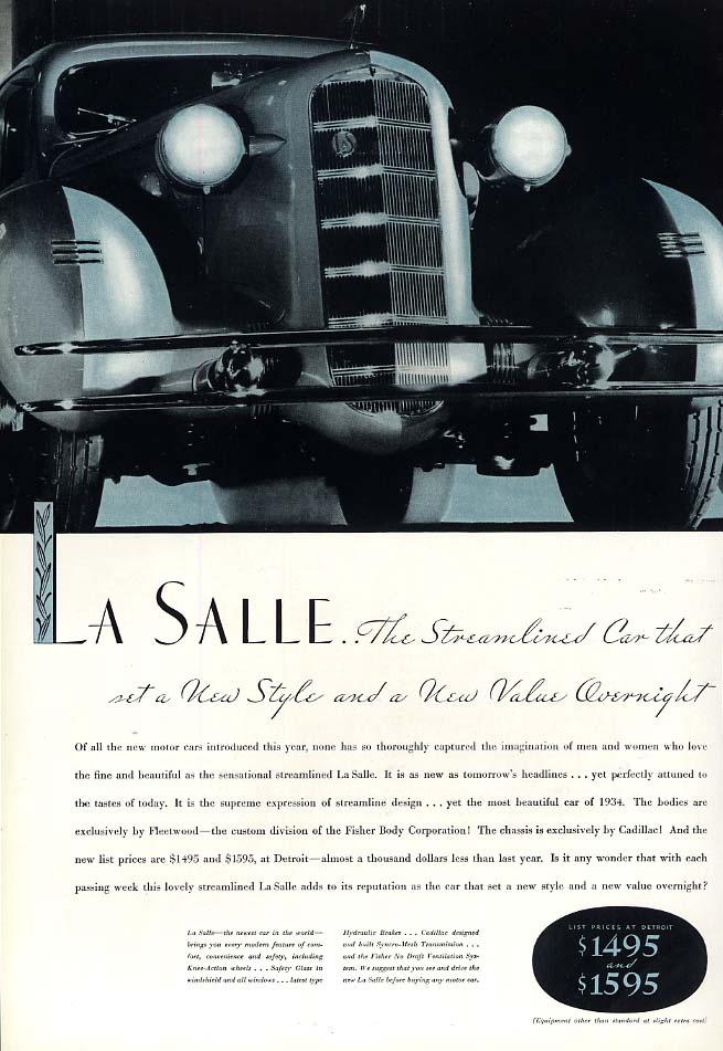 The Streamlined Car that set a new Style & Value - La Salle ad 1934 Esq